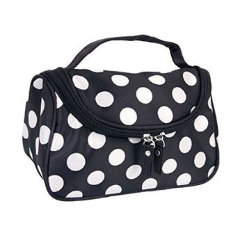Leegoal Zipper Cosmetic Bag Toiletry Hand Case with Dot Patterns Make-Up Pouch, 20 cm, White/Black