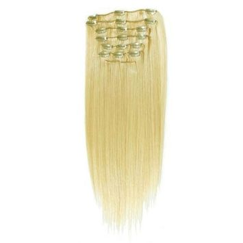 Supermodel - 20 Inch Natural Blonde (Col 22). Full Head Clip In Human Hair Extensions. Hig