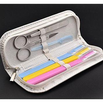 LETB 6 Pieces Eyebrow Trimming Kit Eyebrow Scissors Eyebrow Comb Grooming Set Tweezers and Scissors Set with Travel Zipper Case