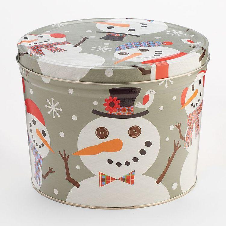 The Popcorn Factory Snowtime 3-Way Popcorn Tin (2-Gallon), Multicolor