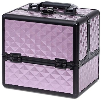 Joligrace Makeup Cosmetic Train Case - Aluminum Storage Organizer Box with Compartments Portable Lockable 10 Inch Purple Cubic