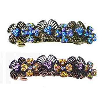 Set of 2 Crystal Barrettes Decorated with Sparkling Aurore Boreale Crystals YY86800-4-2sl