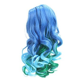 Dovewill 32CM High-temperature Wire Curly Hair Wig Hairpiece for 18'' American Girl Dolls DIY Change Custom Use Blue Gradient