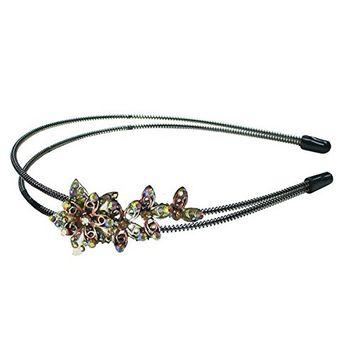 Crystal Brown Flower Metal Wire Headband Hair Band YY86801-3brown