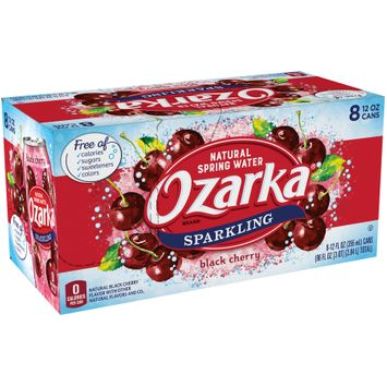 OZARKA Black Cherry Sparkling Natural Spring Water 12oz cans (Pack of 8)