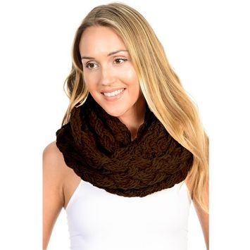 Basico - Basico Winter Chunky Knitted Infinity Scarf Circle Loop Various Colors (SF1602) [name: actual_color value: actual_color-brown]