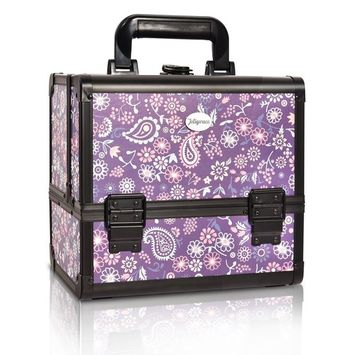 Joligrace Makeup Train Case Cosmetic Organizer Box Lockable with 3 Trays and a Brush Holder Pattern Collection (Purple)