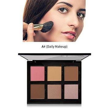 6 Pigmented Professional Blush & Bronzer Palette Makeup Kit Set Pro Palette High-end Formula (Blushes & Bronzer) by Hunputa