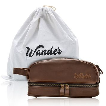 Dopp Kit. Travel Toiletry Kit, Real Leather. FREE Gift bag. (BROWN) By Wander Travel and Supply