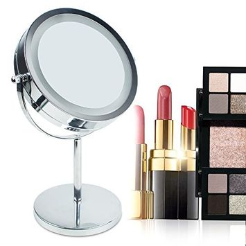 Zinnor 5x Magnification Double Sided Lighted Makeup Mirror 1x/5x Magnifying Vanity Mirror with Stand Desk Mirror with 360° Rotation for Bathroom or Bedroom Countertop