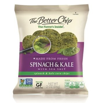 The Better Chip Tortilla Chips, Spinach and Kale with Sea Salt, 2 oz.,18 Count