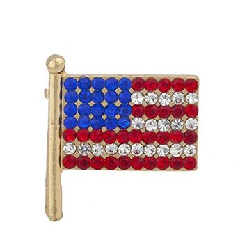 Lux Accessories Gold Tone Red Blue White Rhinestones American Flag Patriotic Pin