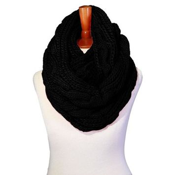 Basico - Basico Winter Chunky Knitted Infinity Scarf Circle Loop Various Colors (SF1603) [name: actual_color value: actual_color-black]