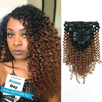 AmazingBeauty 8A 3B 3C 33 Ombre Jerry Curly Clip Extensions Double Weft Real Remy Human Hair for Black Women, Natural Black Fading into Light Auburn, 7 Pieces, 115 Grams, JC TN/30, 18 Inch