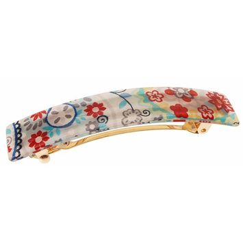 France Luxe Classic Rectangle Barrette - Paisley Punch Celeb Blue
