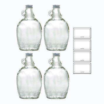 12 oz Clear Glass Bottle with Airtight White Metal Lid (4 PACK) for Syrup, Honey, Sauces, Marinara's, Oils + Labels