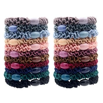 Fashion & Lifestyle 22 Pack Large Hair Ties Pony Ponytail Holders - Thick Solid Stretchy Elastic Hair Bands Boutique Woven Ropes for Girls Women and Ladies