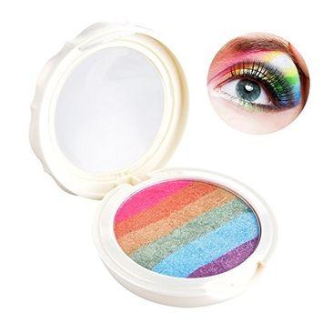 Prism Rainbow Highlighter Blusher Eyeshadow Palette Makeup Shimmer Highlighter Face Shimmer Powder By Molie