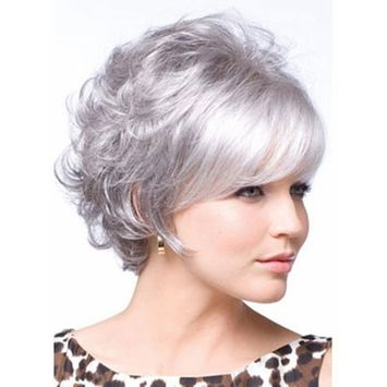 Gray Wigs for Women Short Silver Gray Ladies Hair Wig for White Women with Wig Cap WIG022