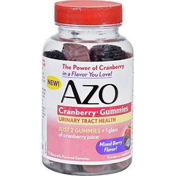 AZO Cranberry Urinary Tract Health Gummies Dietary Supplement | 2 Gummies = 1 Glass of Cranberry Juice | Helps Cleanse & Protect* | Natural Mixed Berry Flavor | 72 Gummies [Gummies, 72 ct]