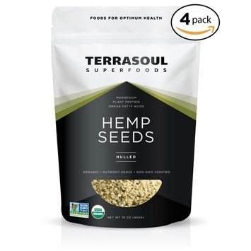 Terrasoul Superfoods Raw Hulled Hemp Seeds (Organic), 4 Pounds