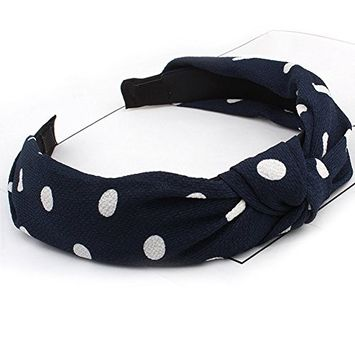 HaloVa Headband, Wide Knotted Hair Clasp Head Wrap Hair Bands Headwear Turban Hair Accessories for Women and Girl, Lovely Chiffon Dots, Fashion, Navy Blue