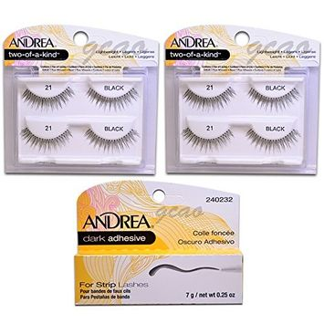 Andrea two of a kind Lashes 21 black (2 Twin) + Strip Lashes Glue Dark 0.25 g