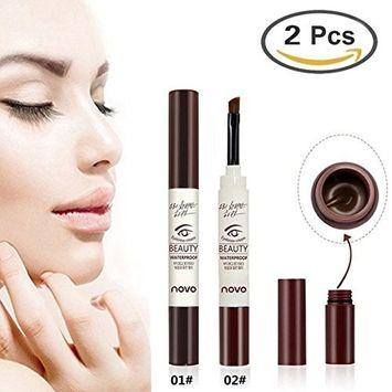 GARYOB Brown Eyebrow Tint Gel, 2Pcs Waterproof Long Lasting Natural Eyebrow Dye Cream for Eyebrow Makeup