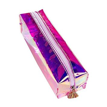 Stationery Case Doinshop Colorful Pen Pencil Cosmetic Bag Travel Makeup Bag High Capacity (Purple)