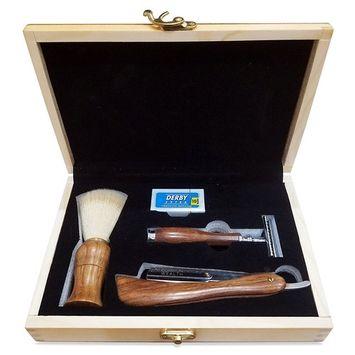 Common Wealth Men's Classic Vintage Shaving Kit Wood Gift Set Safety Razor Straight Edge Razor Shave Brush Barber Box