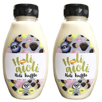 Holi Aioli Non-GMO Vegan All Natural Aioli Sandwich Spread Dressing Dip Mayonaise Alternative 12 Fluid Ounces (Holi Truffle, 2 Pack)