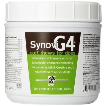 Bayer Synovi G4 Soft chews for Dogs, Joint Supplement, 120ct, Glucosamine, Turmeric, Boswelllia serrata, Creatine with Naturally Derived Ingredients for dogs of all ages, sizes and breeds