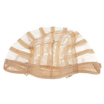 Dovewill Soft Comfort Wig Making Base Inner Cap Adjustable Weave Breathable Weaving Lace Net Cap with Straps - Brown, Black, Beige - Beige, as described