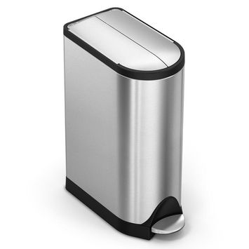 simplehuman 4.75 Gal. Butterfly Step Trash Can in Brushed Stainless Steel