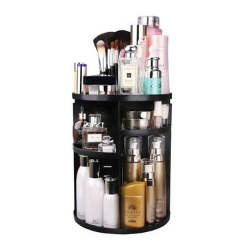 MOFIR Makeup Organizer 360 Degree Rotating, Adjustable Multi-Function Cosmetics Storage Box, Small Size Extra Large Capacity, Fits Different Sizes of Cosmetics …
