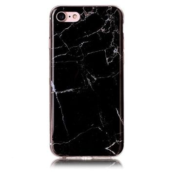 UCLL iphone 7 Plus Case ,Marble Pattern Soft Flexible TPU Slim Fit Protective Cover Case for Iphone7plus (gray)