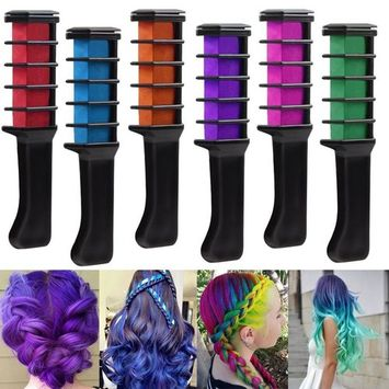 Coosa 6pcs Hair Chalk Disposable Instant Lasting Comb Dye Shimmer Temporary Hair Color Cream for Halloween Dressing Party Fans Cosplay DIY