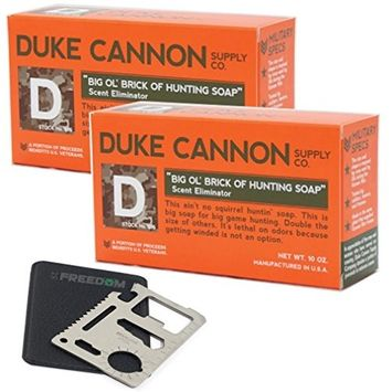 Duke Cannon Big Ol Brick of Hunting Soap - Scent Eliminator Soap Gift Set with 11-function Multi-tool