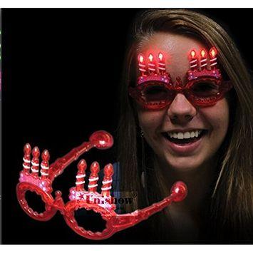 UNISHOW LED birthday Flashing Lights Glasses Slotted Sunglasses for Rave Birthday Party Halloween Custom Holiday Multicolors Ship Randomly (6, A-birthday)