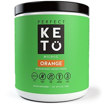 Perfect Keto Greens Superfood Powder: Super Micro Green Drink & MCT Oil. Best as Low Carb Ketogenic Diet Supplement for Ketosis- Amazing for Ketones and Athletic Diets | (Orange)