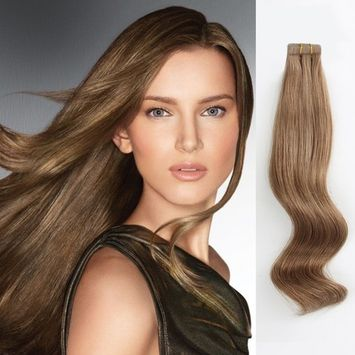 AmazingBeauty Semi-Permanent Pre-taped Double Sided Tape Extensions Real Remy Human Hair Skin Weft, Invisible, Seamless, 50g/20pcs, Chestnut Brown Color #6, 16 Inch