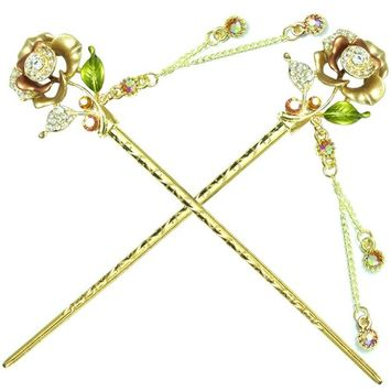 YOY Fashion Hair Decor Chinese Traditional Style Hair Sticks Shawl Pins Picks Pics Forks for Women Girls Hair Accessory 6-inch with Enamel Flower Set of 2, Golden