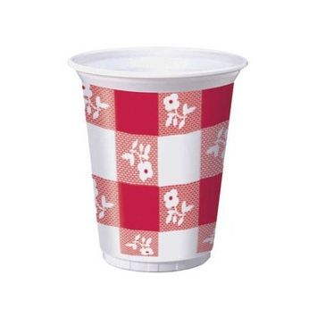 25-Count 16-Ounce Plastic Cups, Red Gingham