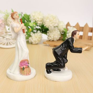 Resin Bride Groom Couple Wedding Cake Topper Bridal Figurin Decoration Gift Valentine's Day Decoration