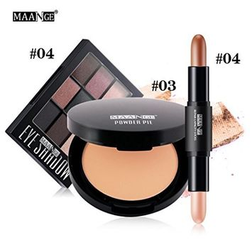 Women Charming Cosmetic Set, Lotus.flower A Three-Piece Suit Of Color Makeup - Oil-Control Concealer High-light Concealer Shimmer Eyeshadow Palette Makeup Kit