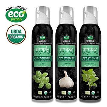 Simply Beyond Organic Spray-On Herbs Seasoning - Taste of Italy, Garlic Basil Oregano, (3 Pack) (Italian, 3 Pack)