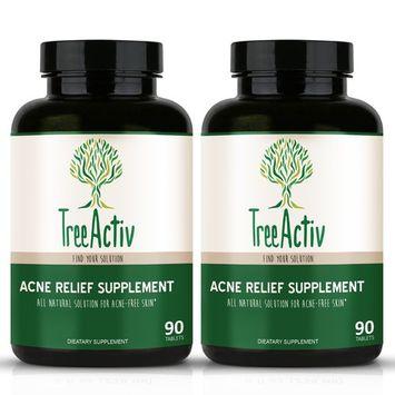 TreeActiv Skin Savior | Acne Care Vitamins, Minerals, and Herbs Clinically Proven to Reduce Visible Blemishes | Nicotinamide Folic Acid Pyridoxine Milk Thistle Selenium Zinc (60 Pills/30 Days)