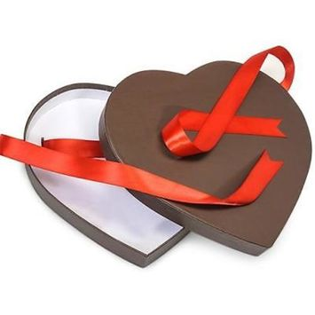 2 Unit Chocolate Large Matte Heart Boxes 9-1/4x8-1/8x1-1/4