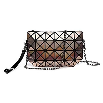 Geometric Foldable Rhombus Folding Grid Cube Schoulderbag Handbag, Cosmetic Tote Bag Pouch Purse Clutch Toiletry Bag Organizer Champagne