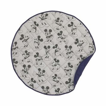 Disney Mickey Mouse Round Quilted Tummy Time Play-mat, Grey/Navy/Dark Charcoal/Black, 36
